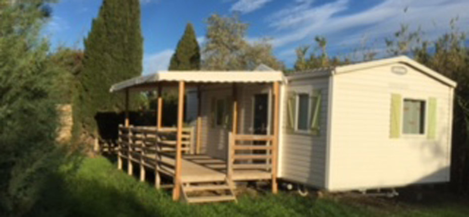 Location mobil-home 5 personnes terrasse couverte